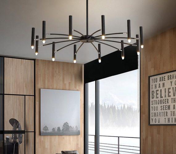 LED kroonluchter Umbrella 12 Black