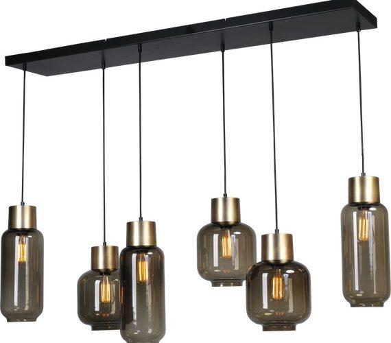 Glazen hanglamp Lett Gold Recht