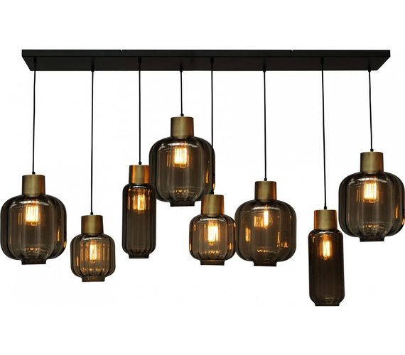 Glazen hanglamp Lett Rib Gold
