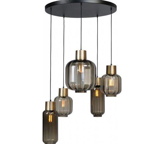 Glazen hanglamp Lett Rib Gold Rond