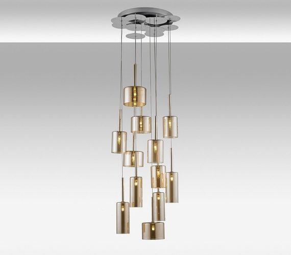 Glazen hanglamp Pots Amber