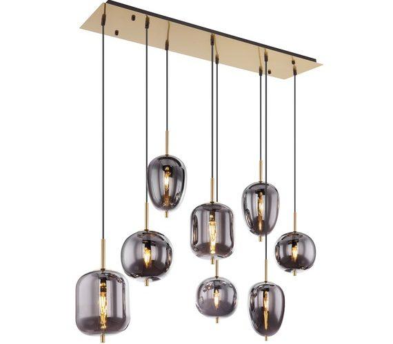 Glazen hanglamp Brass Smoke 8