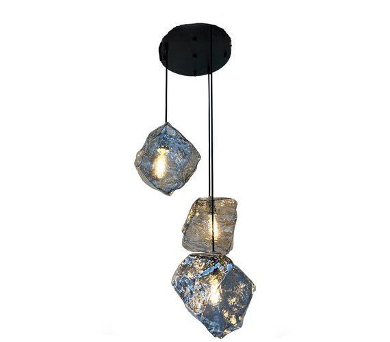 Glazen hanglamp Stones Smoke