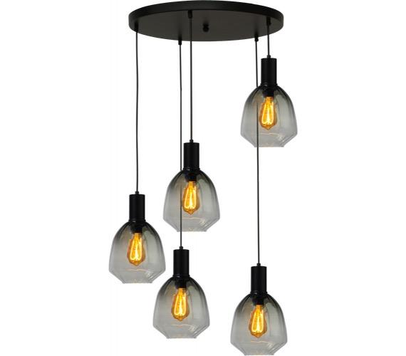 Glazen hanglamp Porto 5 Round