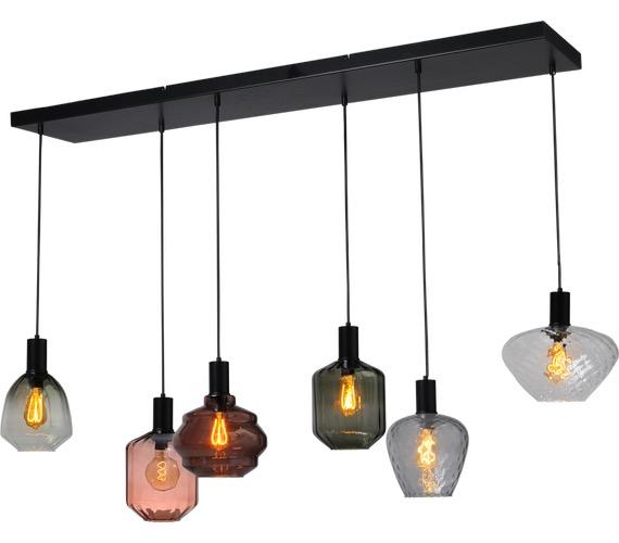 Glazen hanglamp Porto 6 line